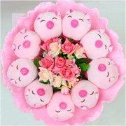 Forever Love Flower Bouquet of Dolls,  9 Mini Pigs